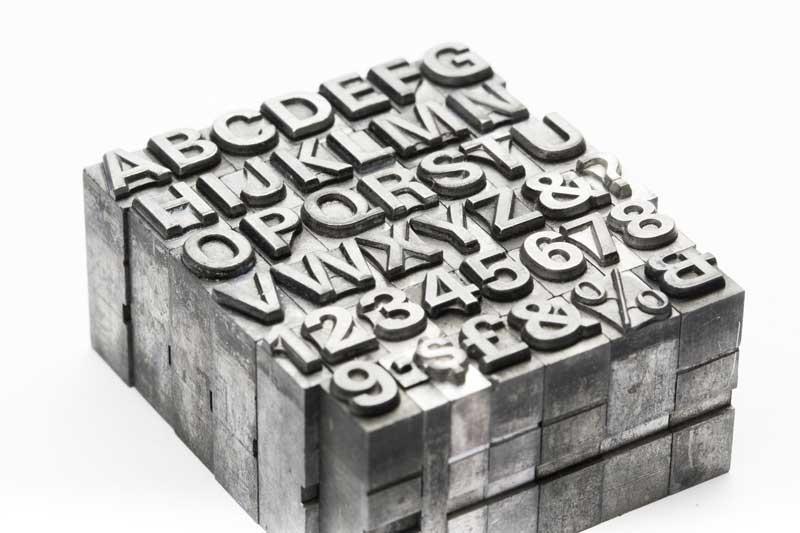 Fotografía de cuerpos de tipografía